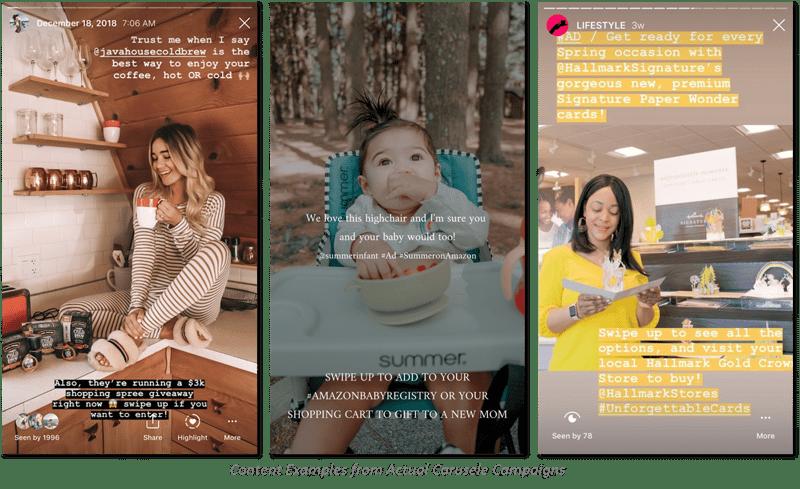 Carusele Instagram Story Examples