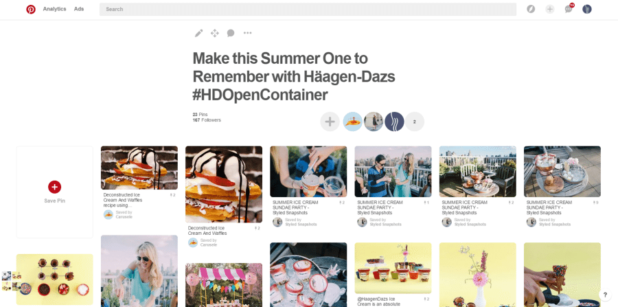 Pinterest Board for Carusele client Häagen-Dazs and Walgreens