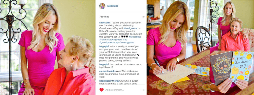 Example: Hallmark Influencer Content informing a brands' creative strategy