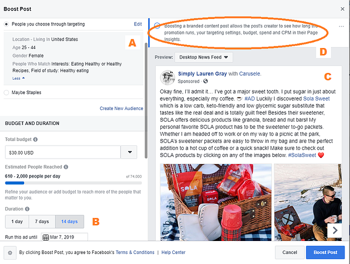 Limitations of the Boost Option on Facebook